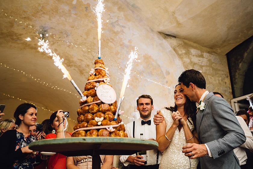 croquembouche wedding cake and sparklers