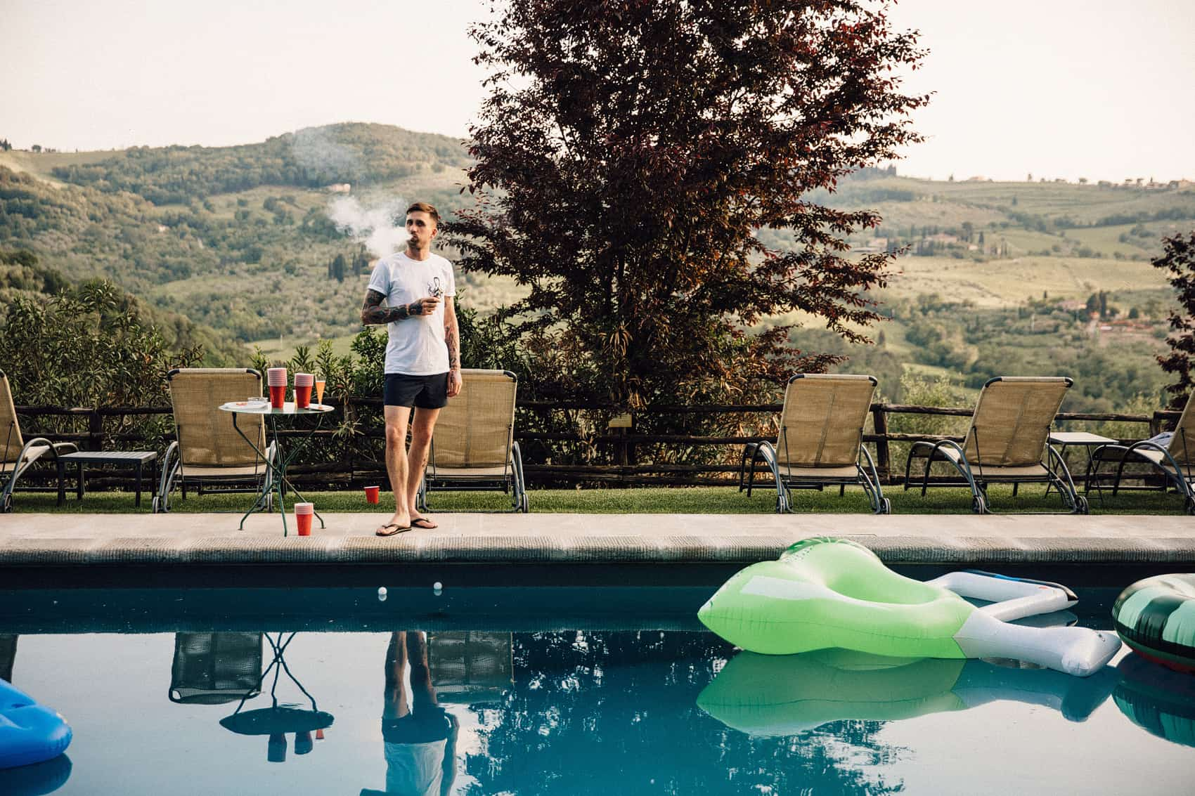Tuscany wedding pool party