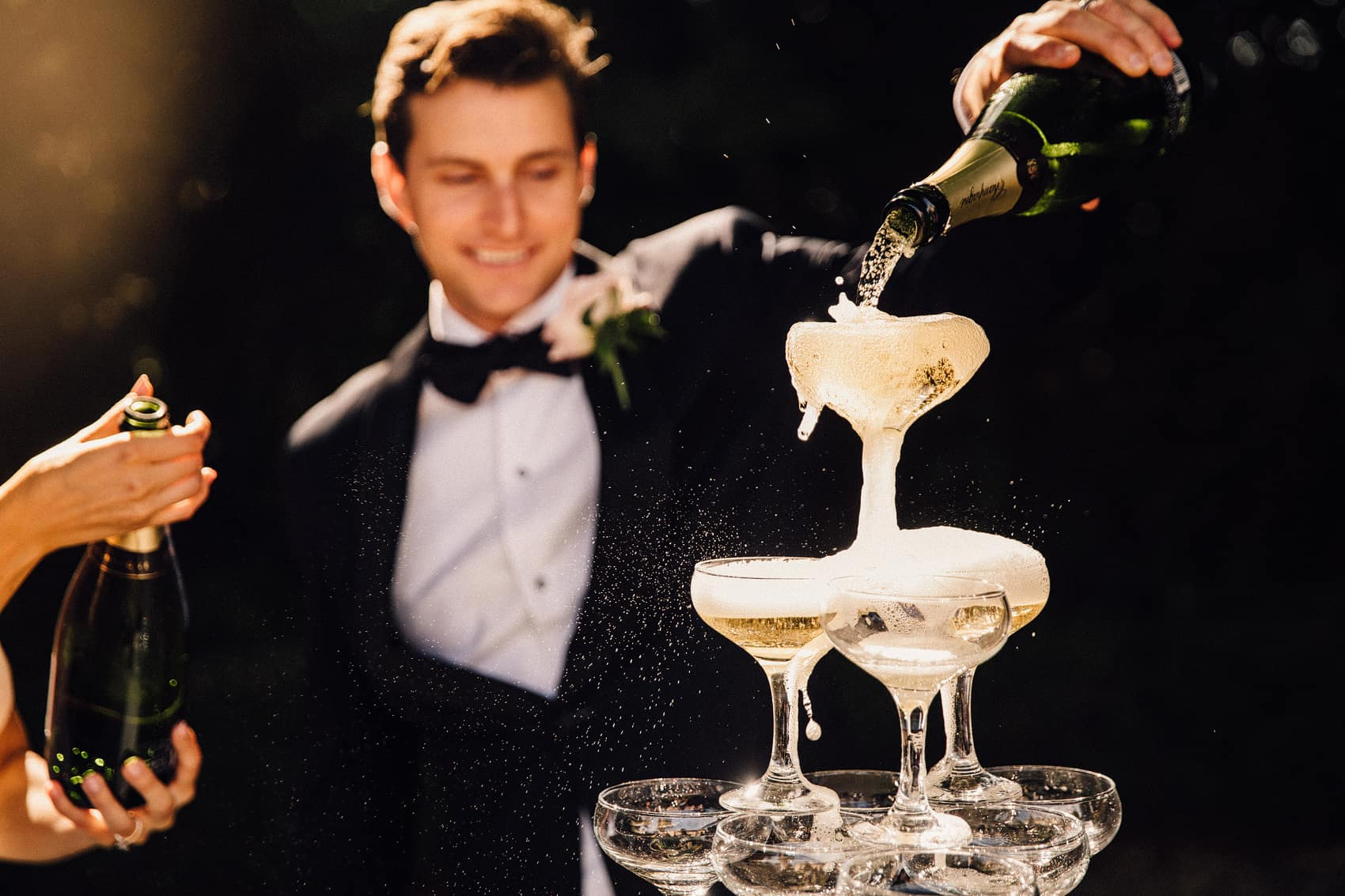 wedding day champagne tower