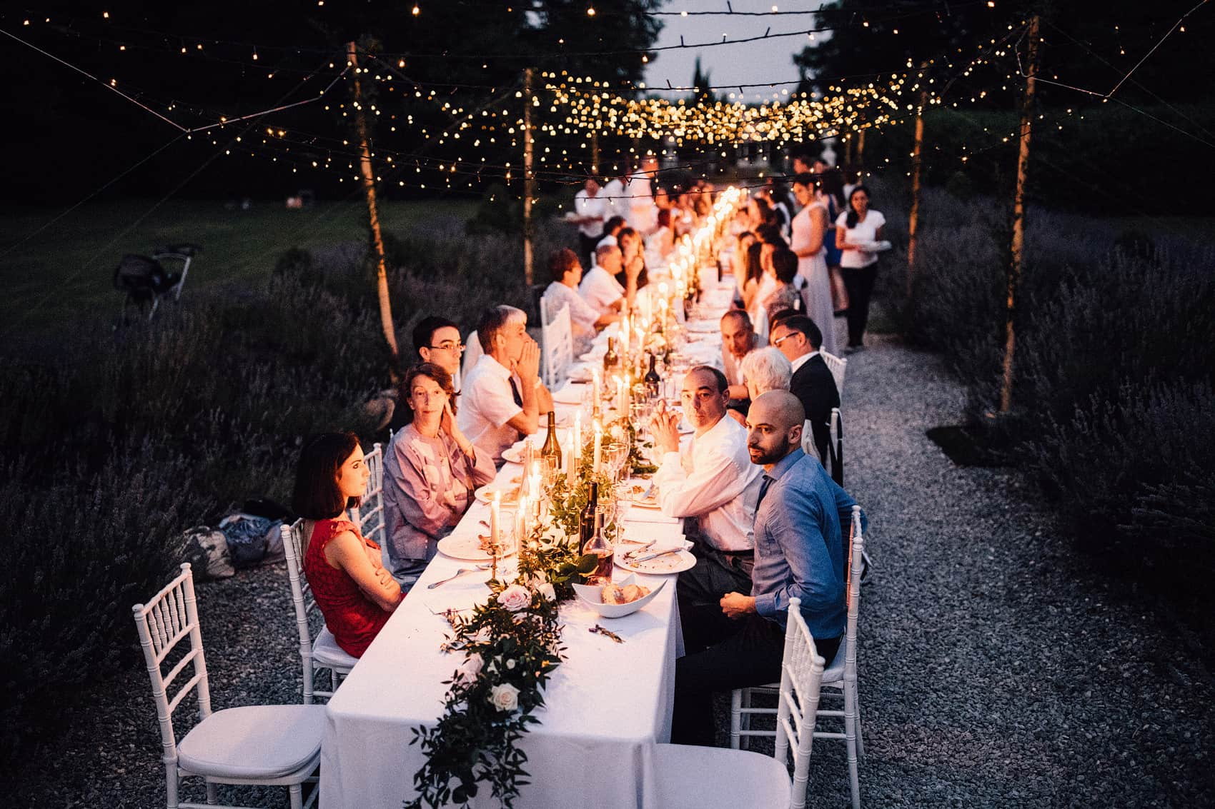 fairy lights over wedding table