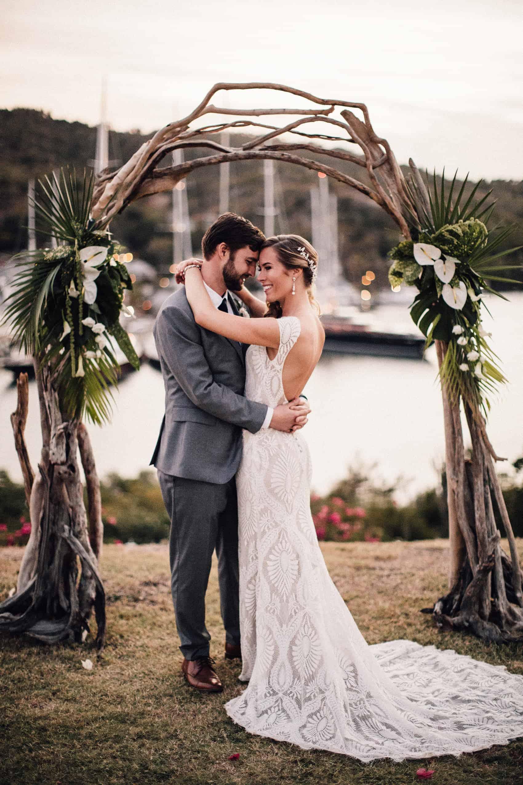 driftwood floral wedding arch